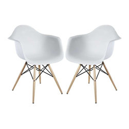 """Modway - Pyramid Dining Armchair Set of 2 in White - Wood Pyramid Armchairs are crafted out of molded plastic for the seat and a solid wood """"pyramid"""" base. Comfortable and versatile, this chair can be used to decorate any space."""
