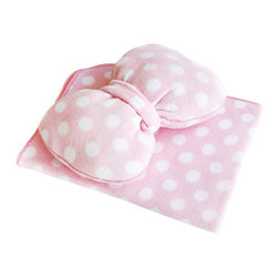 "Blancho Bedding - [Pink Bow] Fleece Throw Blanket Pillow Cushion / Travel Blanket (29.5""-35.4"") - The Coral Fleece Throw Blanket Pillow Cushion / Travel Pillow Blanket measures 29.5 by 35.4 inches for blanket. This is a set of a pink polka dot bow shaped cushion and a blanket. Whether you are adding the final touch to your bedroom or rec-room, these patterns will add a little whimsy to your decor. Machine wash and tumble dry for easy care. Will look and feel as good as new after multiple washings! This blanket adds a decorative touch to your decor at an exceptional value. Comfort, warmth and stylish designs. This throw blanket will make a fun additional to any room and are beautiful draped over a sofa, chair, bottom of your bed and handy to grab and snuggle up in when there is a chill in the air. They are the perfect gift for any occasion! Available in a choice of whimsical kid-friendly prints to spark the imagination, the blanket is durable enough to look great on the go."