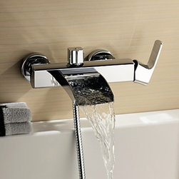 Bathtub Faucets - Chrome Finish Single Handle Wall Mount Waterfall Bathtub Faucet (Hand Shower not included)--faucetsmall.com
