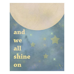 Oh How Cute Kids by Serena Bowman - And We all Shine on, Ready To Hang Canvas Kid's Wall Decor, 20 X 24 - Each kid is unique in his/her own way, so why shouldn't their wall decor be as well! With our extensive selection of canvas wall art for kids, from princesses to spaceships, from cowboys to traveling girls, we'll help you find that perfect piece for your special one.  Or you can fill the entire room with our imaginative art; every canvas is part of a coordinated series, an easy way to provide a complete and unified look for any room.