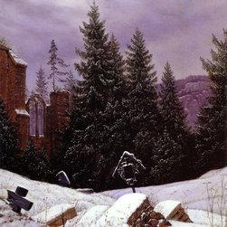 """Carl Gustav Carus Cemetary on Mount Oybin - 18"""" x 24"""" Premium Archival Print - 18"""" x 24"""" Carl Gustav Carus Cemetary on Mount Oybin premium archival print reproduced to meet museum quality standards. Our museum quality archival prints are produced using high-precision print technology for a more accurate reproduction printed on high quality, heavyweight matte presentation paper with fade-resistant, archival inks. Our progressive business model allows us to offer works of art to you at the best wholesale pricing, significantly less than art gallery prices, affordable to all. This line of artwork is produced with extra white border space (if you choose to have it framed, for your framer to work with to frame properly or utilize a larger mat and/or frame).  We present a comprehensive collection of exceptional art reproductions byCarl Gustav Carus."""