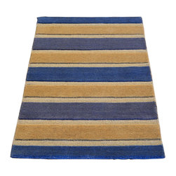 1800-Get-A-Rug - Modern Nepali Raised Striped Hand Knotted Rug Sh7436 - About Modern & Contemporary