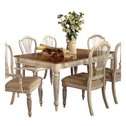 Hillsdale Furniture - Hillsdale Wilshire Rectangular 73x44 Dining Table with Two 18 Inch Leaves - The Wilshire collection features a blend of cottage styling with country accented details. The blend of Americana and English country gives the Wilshire collection a look and feel that will enhance any home. The craftsmanship is evident in each piece. Opening a drawer is a reflection of old world craftsmanship, complete with tongue and groove drawer bottoms, English dovetail drawer construction and thick solid wood drawers. Finishes have been painstakingly applied to give years of enjoyment.