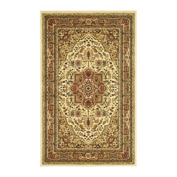 Safavieh - Power Loome Machine Made Rug - Traditional style. Machine made weave. Synthetic fiber. Power loomed construction. Ivory and rust color. Pile height: 0.25 in. Small: 5 ft. 3 in. L x 3 ft. 3 in. W. Medium: 6 ft. L x 4 ft. W. Large: 7 ft. 6 in. L x 5 ft. 3 in. W. Safavieh's Lyndhurst collection offers the beauty and painstaking detail of traditional Persian and European styles. With a symphony of floral, vines and latticework detailing, this beautiful rugs brings warmth to life. Care Instructions: Vacuum regularly. Brushless attachment is recommended. Avoid direct and continuous exposure to sunlight. Do not pull loose ends; clip them with scissors to remove. Remove spills immediately; blot with clean cloth by pressing firmly around the spill to absorb as much as possible. For hard-to-remove stains professional rug cleaning is recommended.