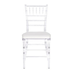 Safavieh - Carly Side Chair - Whether glamorizing a wedding, anniversary, ballroom or an intimate dinner at home, the elegant Carly Side Chair dresses up your special occasion in style.  A 21st century adaptation of the 200-year old Chiavari chair (named after Italian Riviera town of Chiavari where it was first designed), the classic bamboo-patterned frame is molded of sturdy but lightweight PC resin for indoor-outdoor use.  Sold in sets of two, each with plush, detachable tie-on cushion and crystal clear frame, Carly is priced to own at less than you�d pay for a one-time party rental.