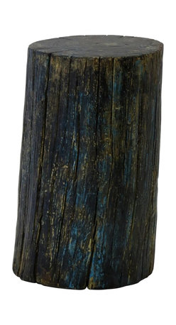 Madera Home - Rustic Blue and Gold Elm Wood Stump - This charming little stool is actually an original antique Elm wood stump that has been dramatically painted and lacquered in shimmering silver, blue and gold. Use it for extra seating, wherever you need it, or as a pedestal to hold flower arrangements and accessories.