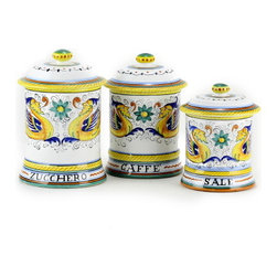 Artistica - Hand Made in Italy - RAFFAELLESCO: Three canister Set Sale, Caffe', Zucchero - RAFFAELLESCO Collection: Among the most popular and enduring Italian majolica patterns, the classic Raffaellesco traces its origin to 16th century, and the graceful arabesques of Raphael's famous frescoes.