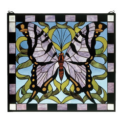 Meyda Tiffany - Meyda Tiffany 46464 Purple Butterfly Tiffany Window - Amethyst wings patterned with Ebony and Amber bring flight to this delightful Butterfly that soars over a ribbon of Garden Green on a Clear Blue sky.Handcrafted utilizing the copperfoil construction process and 380 pieces of stained art glass encased in a solid brass frame. Mounting bracket and jack chain included.