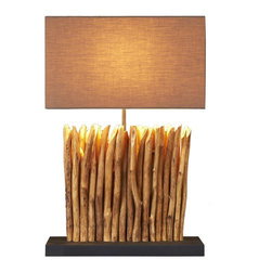 Scandinavian Design - Branch Table Lamp - Hygee is a Danish term that means a sense of warmth and coziness and belonging in a certain place. This medium table lamp gives you all that and more Made of verticly placed solid tree branch that was sanded and polished to show its true textures and beauty.