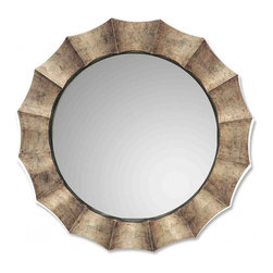 Uttermost - Gotham Tarnished Silver with Black Round Mirror - Unique frame features an antique silver leaf finish with warm highlights.  The inner liner is satin black.