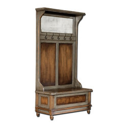 Uttermost - Uttermost Riyo Distressed Hall Tree 25561 - Honey stained, solid mango wood with hand painted, distressed charcoal gray accents, aged brass coat hooks and antiqued mirror. Seat lifts with safety hinge for storage.