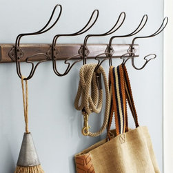 Wire & Wood Row of Hooks - Generous wire hooks ready to hold anything and everything belong in an entryway, a studio, a garage or a bathroom.