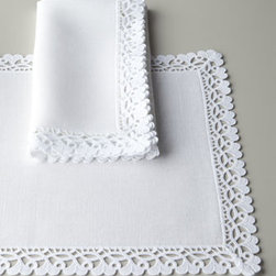 "Matouk - Matouk Four Ricamo Placemats - Beautiful white ""Ricamo"" table linens are made in the USA of crisp Italian linen and adorned with lace all around the edges. Machine wash. Placemats, 13"" x 19"". Napkins, 22""Sq. From Matouk."