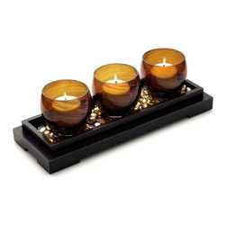 Mikasa - Mikasa Topaz 2-in-1 Jumbo Linear Votive Candle Holders Set - Add warm light and style to any room in your home with the Topaz 2-in-1 Jumbo Linear Votive Candle Holders Set. This set includes three jumbo votives, an espresso finished tray, and decorative gem accents.