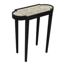 Tini II Z Tiny Unique Accent Table - Tricorn Black with Zig Zag - Discreet, yet impact-full; practical, and elegant - The Tini II is the epitome of furniture designed for both form and function, transcending the typical accent table. This Tini table is the perfect size, fits in anywhere - has just enough room for your favorite book and your cocktail of choice; Ours is the martini of course. This particular version of The Tini II is finishes with the ever-popular Quadrille petit zigzag fabric for that added bit of oomph. Available in 16 colors. Made in the U.S.A.