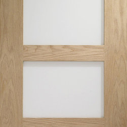Contemporary 4-panel Frosted Glass Door, Solid Red Oak - This solid Red Oak door has 4 equal sized frosted glass panels for a simple, contemporary design. It is pictured unfinished, but Red Oak can be stained from a large array of colors to match your tastes.