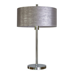 YOSEMITE HOME DECOR - 1 Light Portable Table Lamp in Chrome Finish with Starlight Weave Shade - - 27 Inch Portable Table Lamp