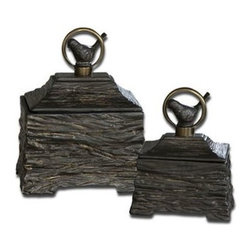 Uttermost - Uttermost 19601 Birdie Boxes In Metallic Gray Set of 2 - Metallic gray ceramic boxes with antiqued bronze metal accents. Removable lids. Sizes: Sm-6x8x4, Lg-8x10x6