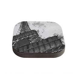 """Kess InHouse - Oriana Cordero """"Bonjour Mon Amour"""" Grey Eiffel Coasters (Set of 4) - Now you can drink in style with this KESS InHouse coaster set. This set of 4 coasters are made from a durable compressed wood material to endure daily use with a printed gloss seal that protects the artwork so you don't have to worry about your drink sweating and ruining the art. Give your guests something to ooo and ahhh over every time they pick up their drink. Perfect for gifts, weddings, showers, birthdays and just around the house, these KESS InHouse coasters will be the talk of any and all cocktail parties you throw."""