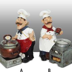 Fat Chef Kitchen Statue Figure Candle Votive Tea Light Holder Complete Set - Beautiful Fat Chef Candle Tea Light Holders.