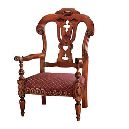 """EttansPalace - Handcarved Solid Mahogany Antique Replica Mahogany Armchair - Hand carved solid mahogany antique replica. When you sink into the wide-seated comfort of the 8-way hand tied suspension in this 19th century English replica, you'll have found your favorite chair. Tastefully detailed hand carving compliments the darkly stained mahogany finish boasting quality upholstery, welted trim and comfortably high back. 28.5""""W x 22.5""""D x 43""""H. 23 lbs."""