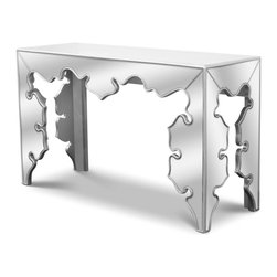 Zuri Furniture - Gotham Mirrored Baroque-Style Console - With a fusion of elegant baroque accents and beaded detail, the Gotham modern console table is crafted with a mirrored glass finish. This piece is certain to make your living space pop!