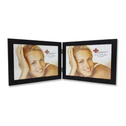 Lawrence Frames - 230075D Black Aluminum 7x5 Hinged Double Picture Frame - Contemporary matte black aluminum metal frame.  Beautiful black velvet backing for table top display.  High quality 7x5 hinged double metal picture frame is made with exceptional workmanship and comes individually boxed.
