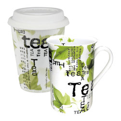 Konitz - Tea Collage To Stay and Go - You've got your bases covered with this tea mug set. Use the single-handle mug for leisurely sipping at home and use the one to-go mug for spill-proof and heat-shielded enjoyment. Both mugs feature a lovely Asian-inspired collage print that'll lend a tranquil mood to your teatime ritual.