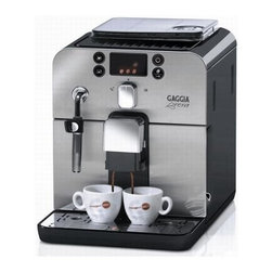 Gaggia - Gaggia Brera Black Espresso Machine Coffee Maker - Compact design. Sleek machine can fits on any corner. Programmable four button control panel. Front access cleaning. Optidose controls strength of espresso. Bypass doser. Automatic rinsing cycle. Stainless steel boiler and front panel. Rotating steam and hot water wand. Water filtration system. A class energy rating. Mavea water filter. Coffee bean container, grounds disposal, water tank and drip tray are accessible from the front of the machine for easy access and maintenance. Dedicated icons for brewing and steaming functions quick reference. Warranty: One year parts and labor. Made from plastic. No assembly required. 10 in. W x 15.5 in. D x 11.5 in. H (25 lbs.)The new face of traditional Italian espresso, the Gaggia Brera features compact design that is much more space efficient than most machines in its class. But don't let its size fool you; this super automatic takes full advantage of advanced technology allowing it to go toe-to-toe with the industry's heavyweights. All of the parts used for daily operations. The Brera has been designed to cater to those seeking convenience. The Brera's mechanical functions are undeniably sophisticated. The machine can also memorize drink volume to deliver a truly customized beverage. In addition, you can use pre-ground or decaf coffee, thanks to the integrated bypass doser! But, should you wish to take advantage of the Brera's grinding functions, the durable ceramic grinder won't disappoint. Best of all, the innovative Brera uses the Gaggia Adapting System to monitor and automatically adjust the grind time, based on your beans, to deliver the exact quantity of coffee selected!