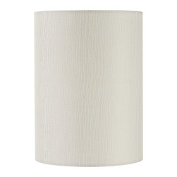 """Lamps Plus - Contemporary Ripple Texture Cylinder Lamp Shade 8x8x11 (Spider) - Add height to any existing lamp with this gorgeous cylinder lamp shade. A rippled effect adds subtle depth and texture to the look. The correct size harp is included free with this shade. Cylinder lamp shade. White fabric. Vertical ripple textured effect. Rolled edge. Hardback style. Chrome spider fitter. Unlined. 8"""" across the top. 8"""" across the bottom. 11"""" on the slant. 11"""" high.  Cylinder lamp shade.  White fabric.  Vertical ripple textured effect.  Rolled edge.  Hardback style.  Chrome spider fitter.  Unlined.  8"""" across the top.  8"""" across the bottom.  11"""" on the slant.  11"""" high."""