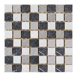 None - SomerTile Griselda Square Charcoal Natural Stone Mosaic Wall Tile (Pack of 10) - Bring the beauty of nature into any space with this beautiful mosaic set from SomerTile. Created with a blend of natural stone, these tiles add depth and complement any decor.