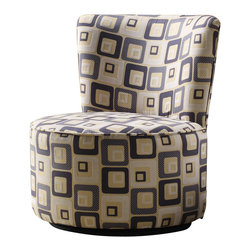 Homelegance - Homelegance Easton Swivel Lounge Chair - Wild Zebra - When designing your living space the accent pieces you choose not only to fill the room but allow for the expression of your individual style to come shining through. Offered in a multitude of fabrics and frames, our accent collection will compliment your unique style. The rounded back Easton swivel chair is offered in the following covers: Wild zebra, blue geometric pattern and brown geometric pattern.