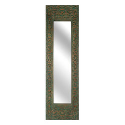 """Imax Worldwide Home - Sanura Wood Carved Rectangle Mirror - With a global pattern, the Sanura mirror features an antiqued turquoise finish over carved wood. Looks great in narrow spaces!; Materials: 60% Albasia Wood, 20% Mdf, 20% Glass Mirror; Country of Origin: Indonesia; Weight: 12.1 lbs; Dimensions: 47.25""""H x 14""""W x 2"""""""