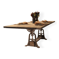 Kathy Kuo Home - Monterrey Industrial Loft Iron Reclaimed Wood Adjustable Dining Table - Add some industrial flavor to your dining room with this gorgeous, grand table. Made from reclaimed azobe wood and cast iron, this table has an adjustable base for the flexibility of a console table, buffet table or seating for a large dinner party.