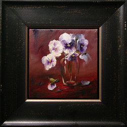Pansies In Shoulder Vase (Original) by Lori Twiggs - My pansy addiction is out of control.  This is the 4th in a series I didn't realize I was creating.  Framed in a distressed floater frame.