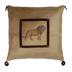 Frontgate - Lion Pillow - Made by Eastern Accents. Cheetah and lion pillows are meticulously hand-painted and feature corner beads. 100% velvet, front and back. Fully lined. Zipper closure. Add color, texture, and whimsy to your home with our handmade Safari Throw Pillows. These gorgeous velvet pillows are filled with down and are the perfect animal accessory to any wildlife-themed decor.  .  .  .  .  . Dry clean only. Down insert . Because this bedding is specially made to order, please allow 4-6 weeks for delivery.. Made in USA.