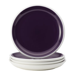 Rachael Ray - Rachael Ray Dinnerware 'Rise' Purple 4-piece Stoneware Dinner Plate Set - With their eye-catching style and two-tone hues, these plates add dynamic mix-and-match capabilities to other pieces in the entire Rise collection to create a personalized table setting. The dinner plate set is crafted from durable glazed stoneware.