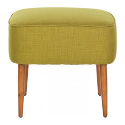 Safavieh - Inigo Ottoman - A diminutive footstool with natural oak -finished spindle legs inspired by Mid-Century Modern chairs, the Inigo ottoman is the ideal solution for bedroom, bath or apartment living room. Covered with sweet pea green fabric in a blend of polyester and organic viscose, and detailed with self-binding, the Inigo square ottoman looks great tucked in pairs under a console.