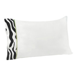 Sweet Jojo Designs - Green Zebra Children's Sheet Set Twin (3 Pc.) - The Green Zebra Children's sheet set will help complete the look of your Sweet Jojo Designs room. This white with zebra print trim and lime piping sheet set is available in a Twin and Queen Size and is machine washable for easy care.