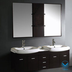 Vigo - Vigo Double Contemporary Vanity Set - This contemporary double vanity from Vigo will provide any bathroom with functionality and elegance. The wall-mounted floating design provides a modern touch and it makes cleaning a cinch. Two lovely mirrors finish off this beautiful set.