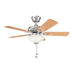 "Kichler - 42"" Sutter Place Select 42"" Ceiling Fan Brushed Stainless Steel - Kichler 42"" Sutter Place Select Model KL-337014BSS in Brushed Stainless Steel with Reversible Light Oak/Medium Oak Finished Blades."