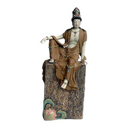 Golden Lotus - Chinese Hand Made Sitting on Stone Top Kwan Yin Figure - This is a precisely handcrafted Sitting Kwan Yin statue with peaceful and serene feeling. It is a fine piece for collection and personal meditation or decoration.