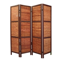 "Proman Products - Proman Products Saigon Folding Screen in Walnut - Saigon folding screen, wood frame with Bamboo inserts, walnut #6 color, 4 panels, panel size: 15X67X1"", box: 18X69X6 in"