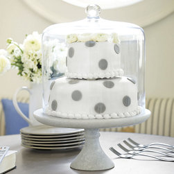 Ballard Designs - Marble Cake Plate - Large - Looks great with our Three-Layer Cake Dome (sold separately). Try it as a pedestal for potted flowers & succulents. Hand wash. This honed, solid marble stand goes from casual to elegant with effortless style. The solid marble base screws securely into the underside of the plate, creating a beautiful and sturdy pedestal for displaying cakes, desserts, and appetizers. Coordinates with our Three Tiered Cake Dome.Marble Cake Plate features:  . . .