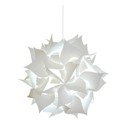 Akari Lanterns - Medium Spades Pendant lighting fixtures - Cool white glow - This 18 inch wide hanging pendant light from Akari Lanterns is a swag plug-in type hanging lamp that is fully assembled with a cool-white CFL bulb and ready to install.  Many say our pendant lamps resemble Chinese paper lanterns but have a more unique bright white glow and are more pleasing to the eye.   These swag lights have a 12 ft. cord with a switch near the plug so that you can install it almost anywhere – even outdoors! (Mounting staples included)  While our hanging lamps normally plug into a regular 120v outlet, we also sell a ceiling mounting kit ($15.95) if you prefer to hardwire it to an electrical box in the ceiling to replace an older light fixture.  This durable lamp shade material is very easy to clean and made from 100% recycled plastic.  We are proud to say we design, manufacture and assemble these products in the USA, patented design.  Each pendant light comes with a 30 day return policy.  If you have any questions or special requests, please let us know!