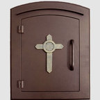 Qualarc, Inc. - Manchester Mailbox, Cross Logo, Antique Copper - This decorative cast aluminum mailbox insert can be matched with an optional newspaper holder or address plaque. The doors are sealed against the weather and its 22 gauge steel masonry box is electro-galvanized and powder coated to last.