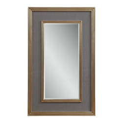 Bassett Mirror - Bassett Mirror Mulholland Wall Mirror - Evoke a feeling of old Hollywood glamour with the Mulholland Wall Mirror. Its beveled glass is surrounded by charcoal gray linen matting and two frames in silver leaf finish. Pair it with contemporary decor for a look that is both elegant and understated.
