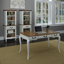 HomeStyles - Oak and Rubbed White Executive Desk - The Executive Desk is constructed of poplar solids, engineered wood and oak veneers in a distressed oak and heavily rubbed white finish. The distressed oak features several distressing techniques such as worm holes, fly specking, and small indentations. Features include three storage drawers (one being a drop down keyboard tray). Design features include shaped carved proud legs, corner peg accents, and detailed brass hardware. Assembly required. 54 in. W x 28 in. D x 30 in. H