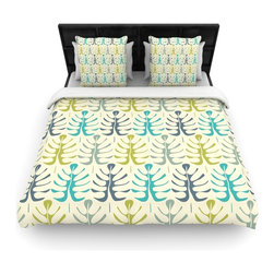 "Kess InHouse - Julia Grifol ""My Leaves"" Teal Green Cotton Duvet Cover (Queen, 88"" x 88"") - Rest in comfort among this artistically inclined cotton blend duvet cover. This duvet cover is as light as a feather! You will be sure to be the envy of all of your guests with this aesthetically pleasing duvet. We highly recommend washing this as many times as you like as this material will not fade or lose comfort. Cotton blended, this duvet cover is not only beautiful and artistic but can be used year round with a duvet insert! Add our cotton shams to make your bed complete and looking stylish and artistic!"