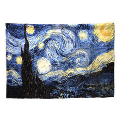 None - Starry Night Wall Tapestry - Present your favorite Van Gogh lover with this iconic contemporary wall art piece. This generously sized tapestry features rod pockets at both the top and bottom for smooth mounting. The starry scene is printed on a jacquard weave to add texture.